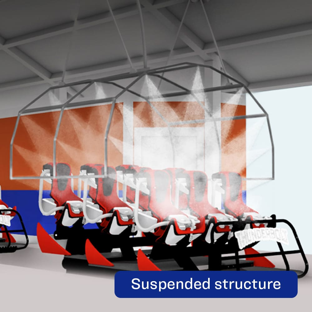 The Wash-Through Ride System-Suspended Structure